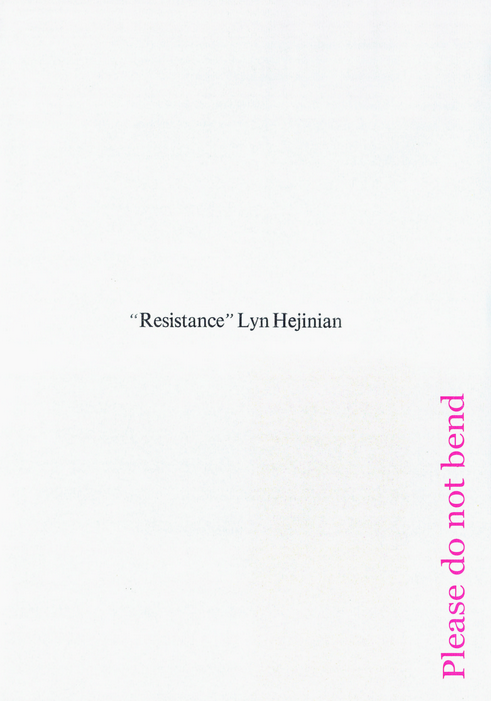 A SANDWICH, A WALLET AND A GIRAFFE - booklaunch Resistance by Lyn Hejinian